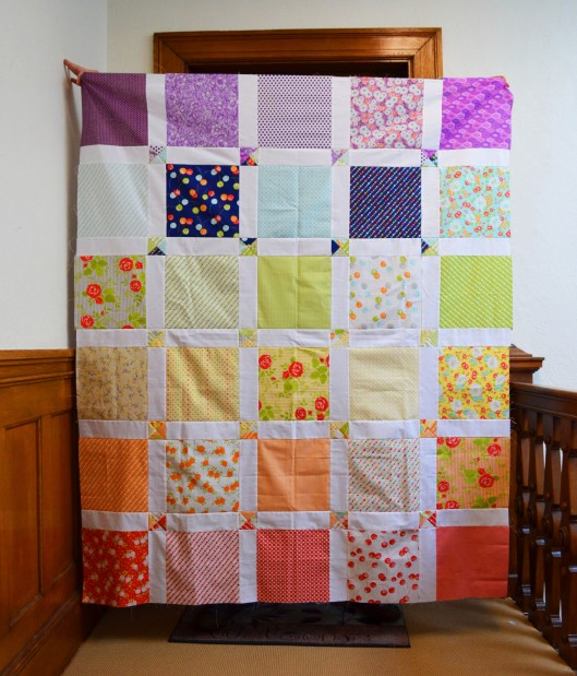 rainbow windowpane quilt