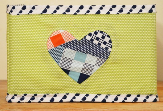 reverse applique heart fabric box